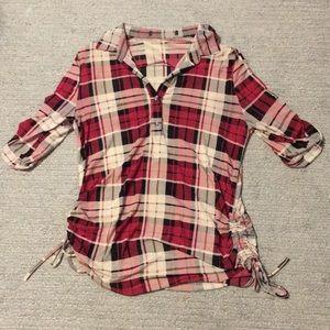 Tops - Thin Stretch Plaid Shirt